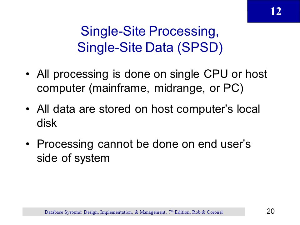 Single-Site Processing, Single-Site Data (SPSD)