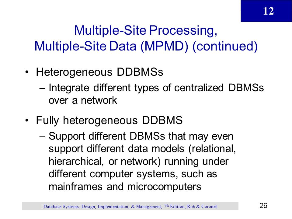 Multiple-Site Processing, Multiple-Site Data (MPMD) (continued)