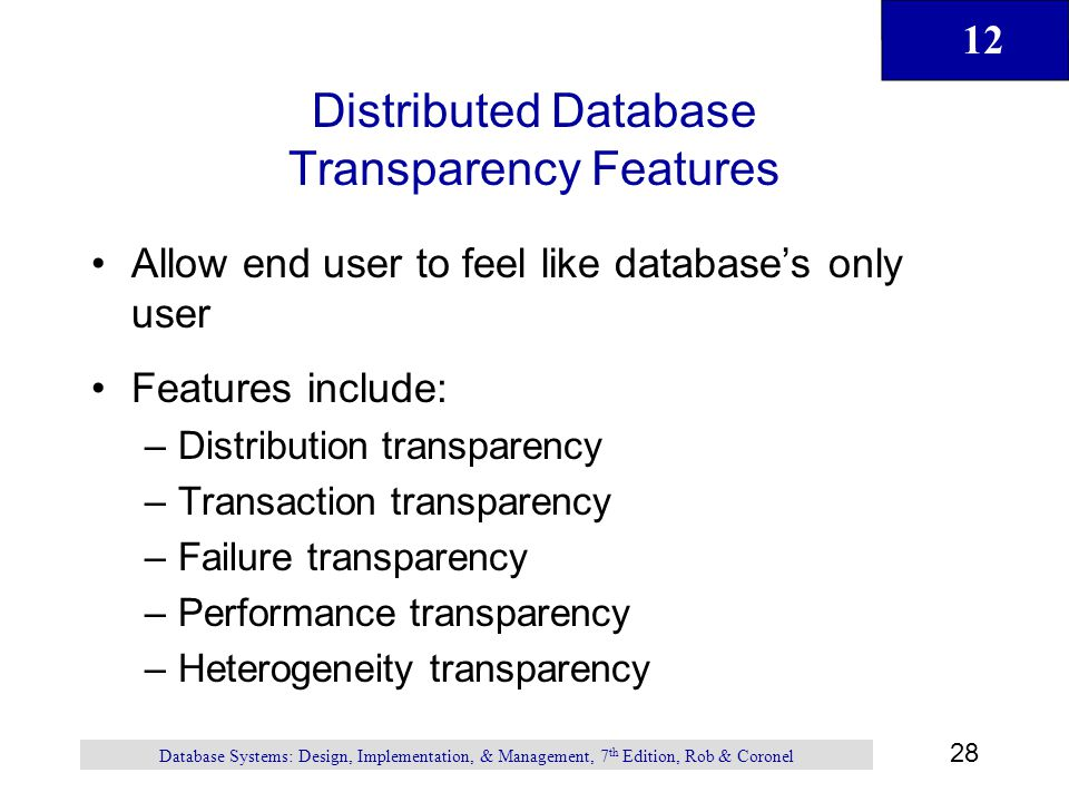 Distributed Database Transparency Features