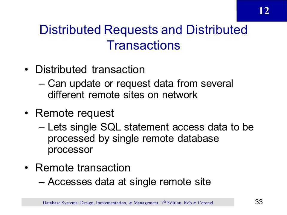 Distributed Requests and Distributed Transactions