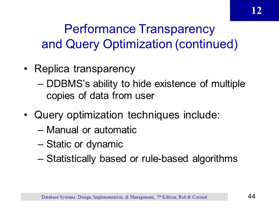 Performance Transparency and Query Optimization (continued)