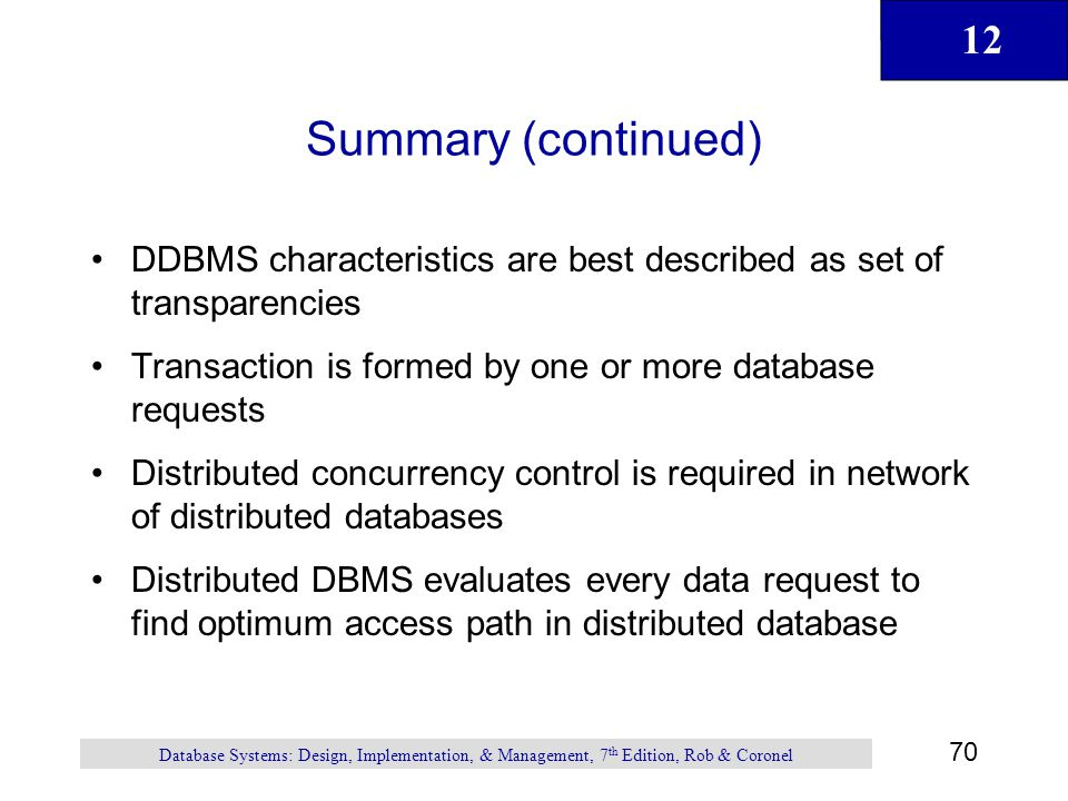 Summary (continued) DDBMS characteristics are best described as set of transparencies. Transaction is formed by one or more database requests.