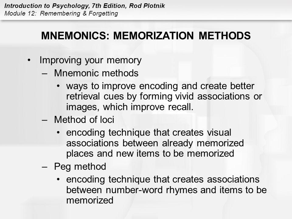 MNEMONICS: MEMORIZATION METHODS