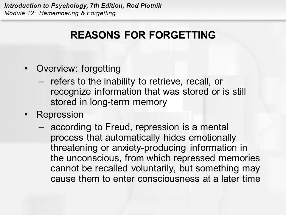REASONS FOR FORGETTING
