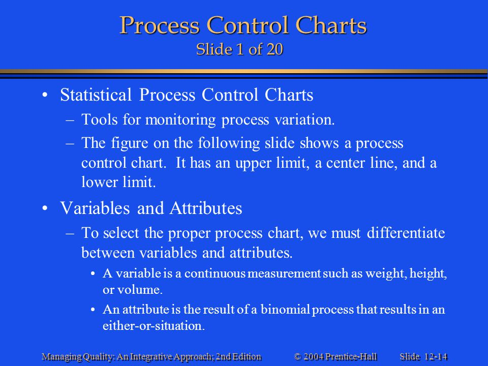 Process Control Charts Slide 1 of 20