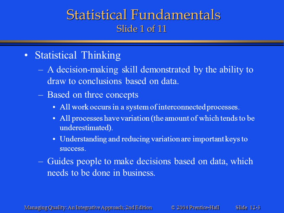 Statistical Fundamentals Slide 1 of 11