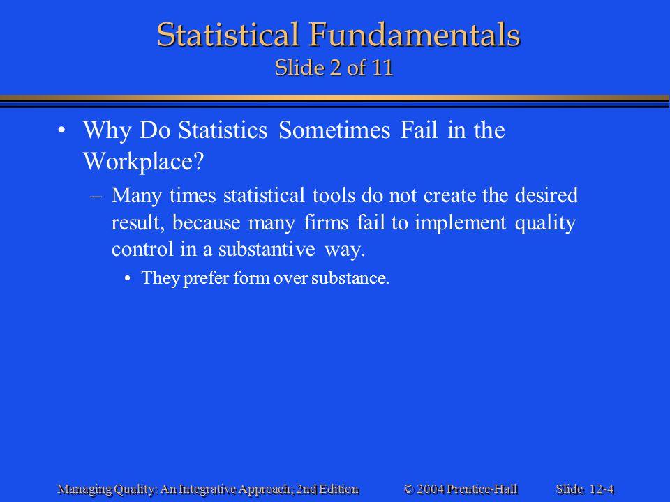 Statistical Fundamentals Slide 2 of 11