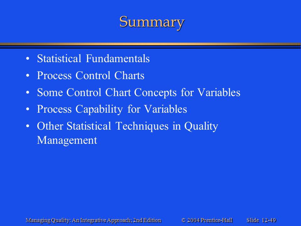 Summary Statistical Fundamentals Process Control Charts