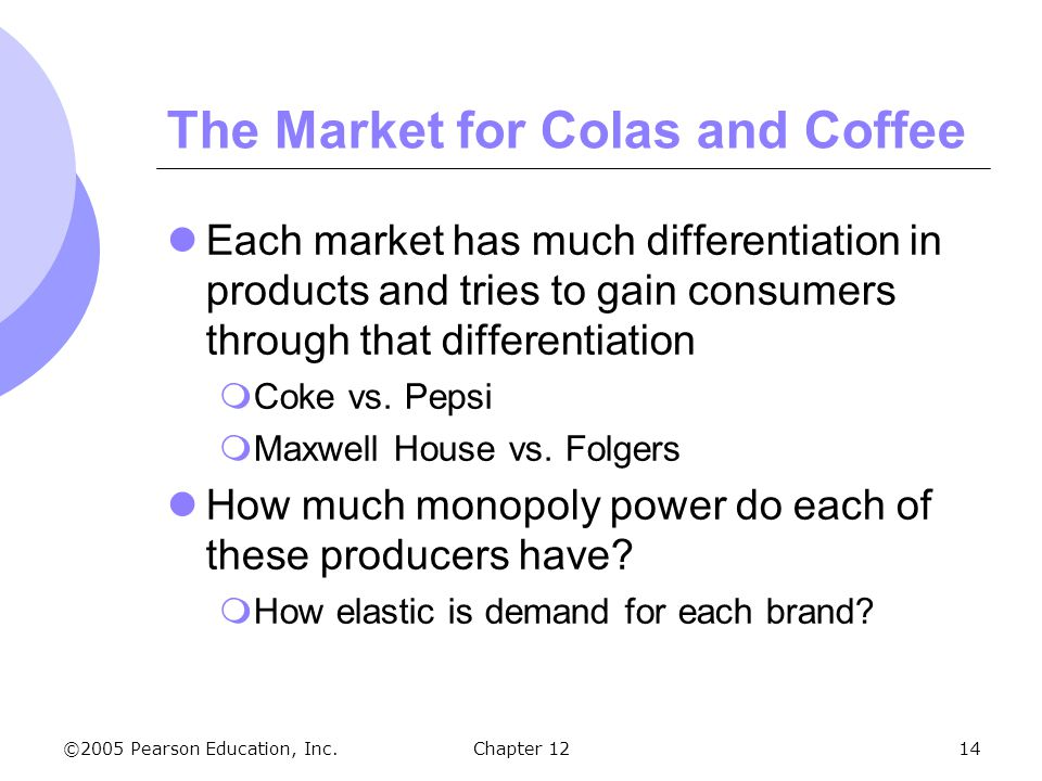 The Market for Colas and Coffee