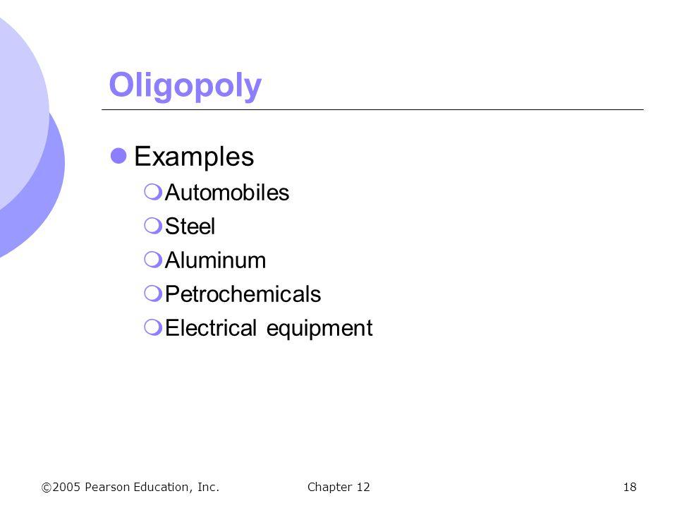 Oligopoly Examples Automobiles Steel Aluminum Petrochemicals