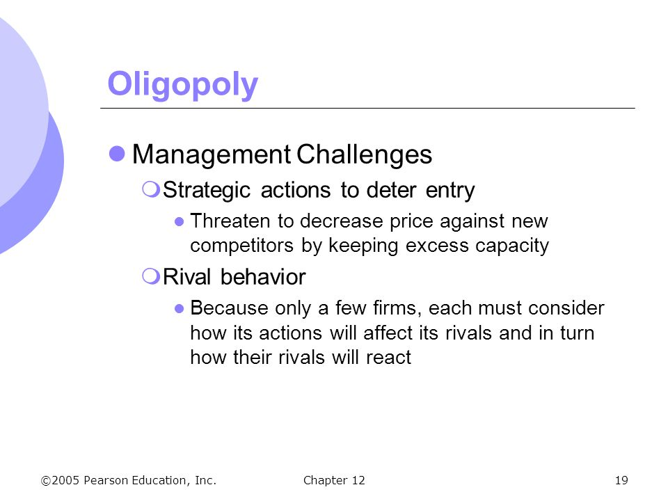 Oligopoly Management Challenges Strategic actions to deter entry