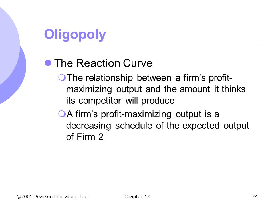 Oligopoly The Reaction Curve