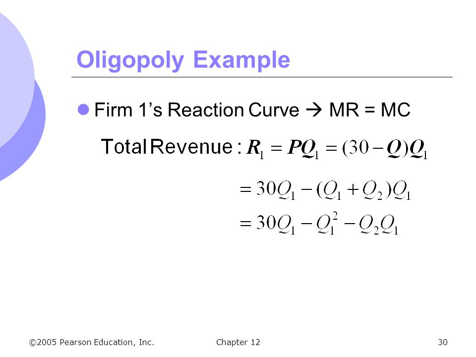 Oligopoly Example Firm 1's Reaction Curve  MR = MC Chapter 12 4 46