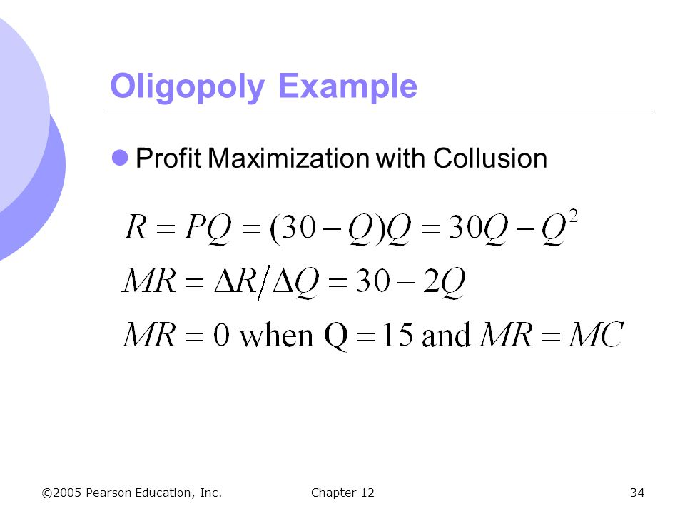 Oligopoly Example Profit Maximization with Collusion Chapter 12 4 55