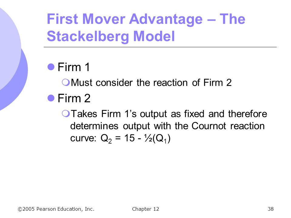 First Mover Advantage – The Stackelberg Model