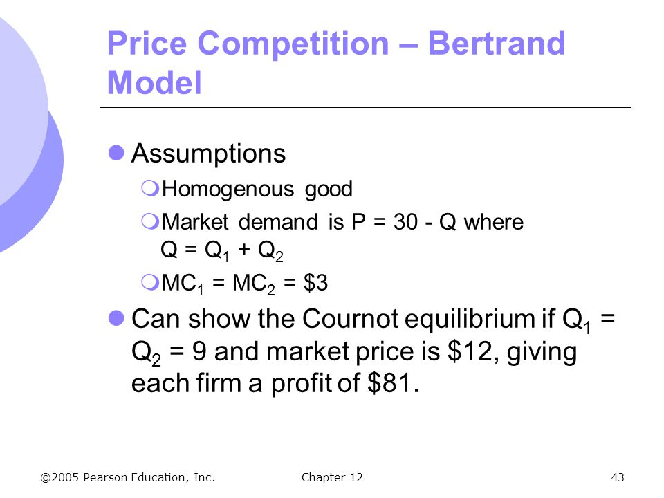 Price Competition – Bertrand Model