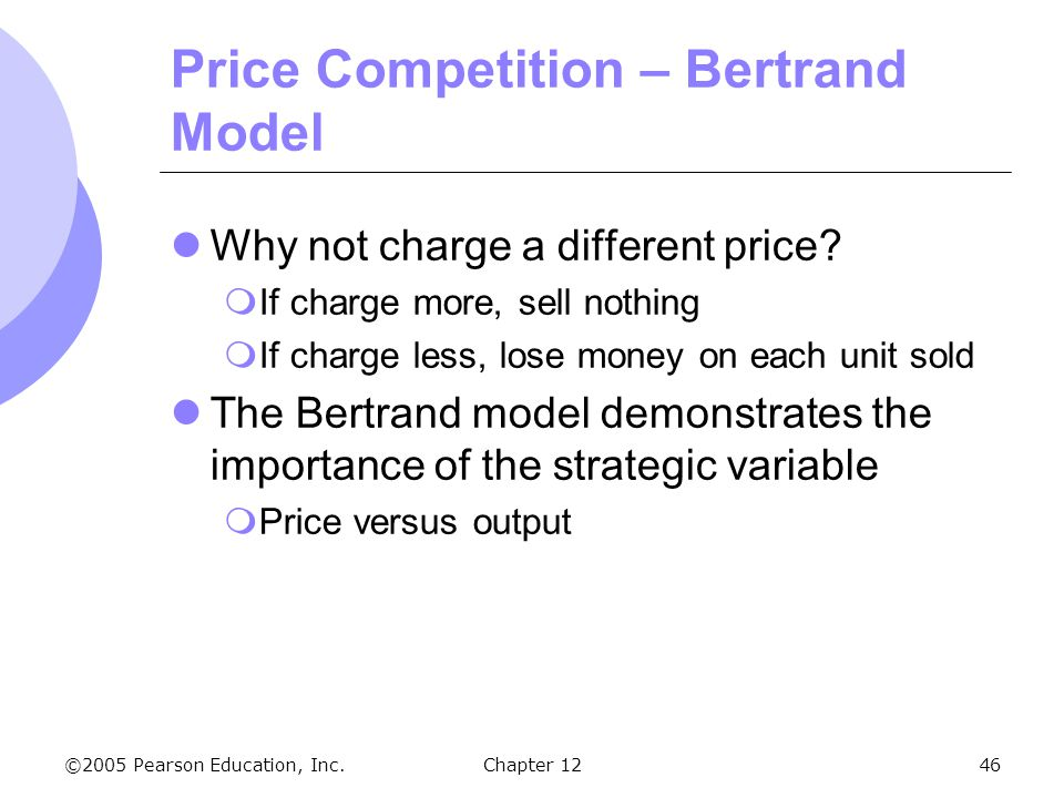 Price Competition – Bertrand Model