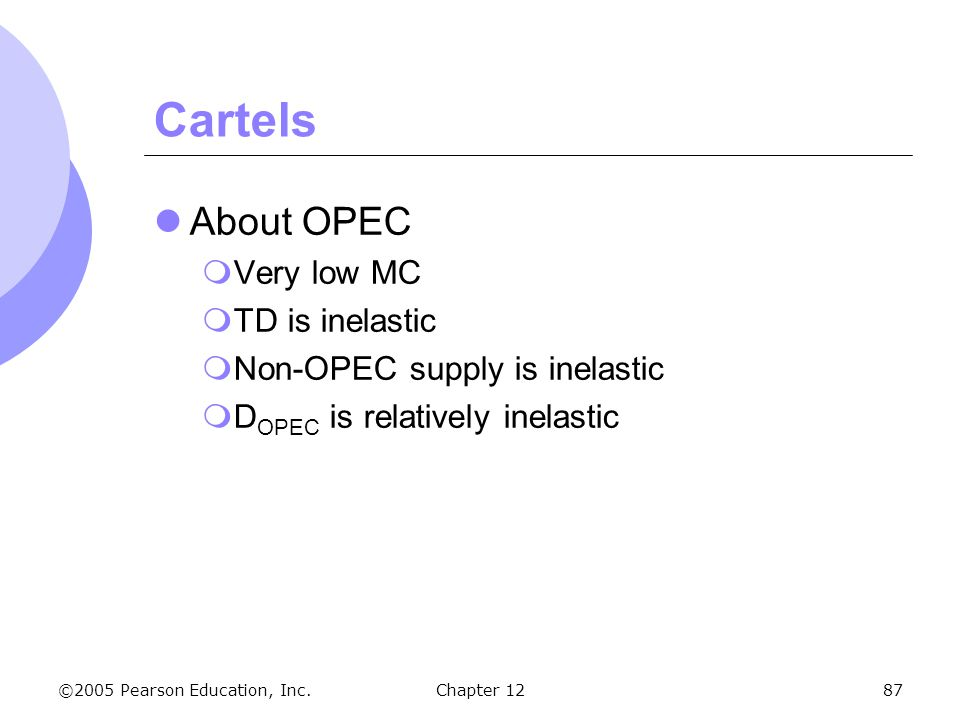 Cartels About OPEC Very low MC TD is inelastic