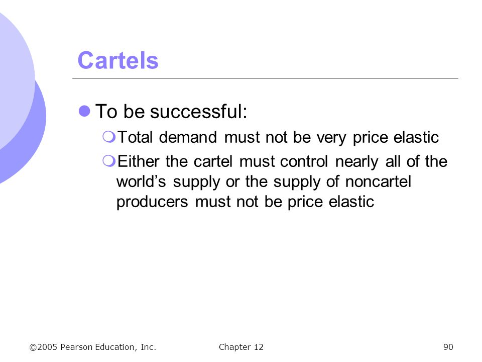 Cartels To be successful: Total demand must not be very price elastic