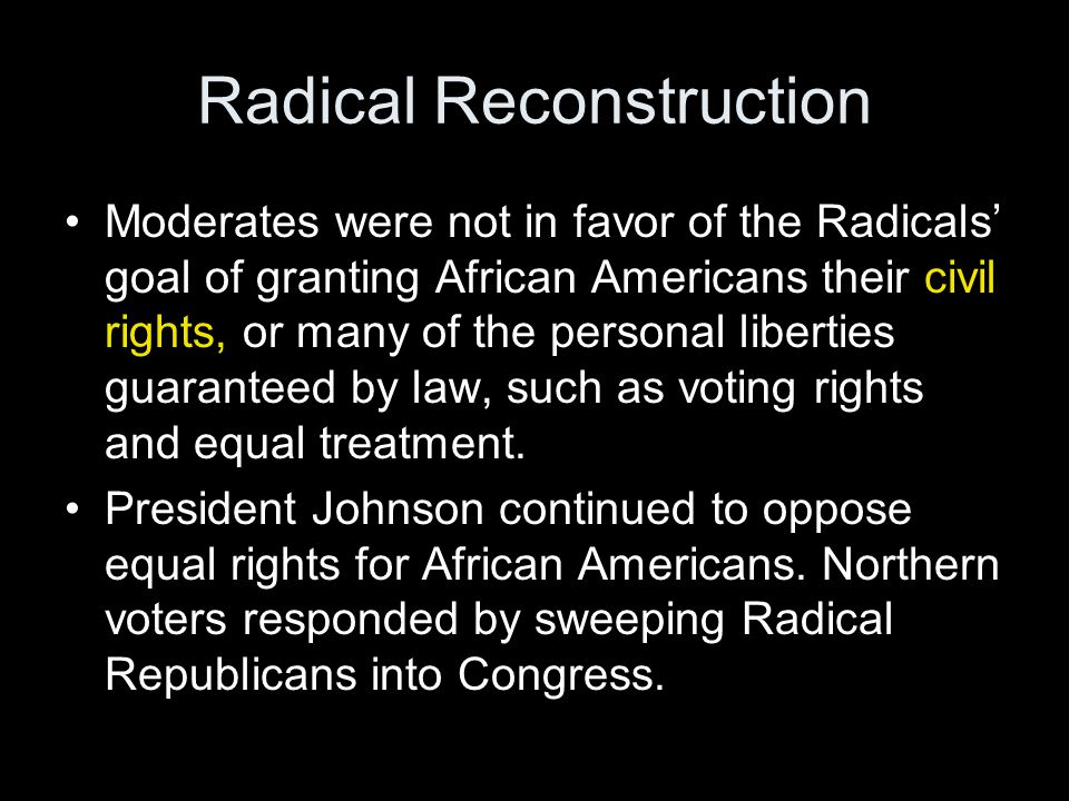 an essay on the radical republicans Get an answer for 'how was reconstruction a successi have to write an essay about reconstruction and how it was a the efforts of radical republicans and.