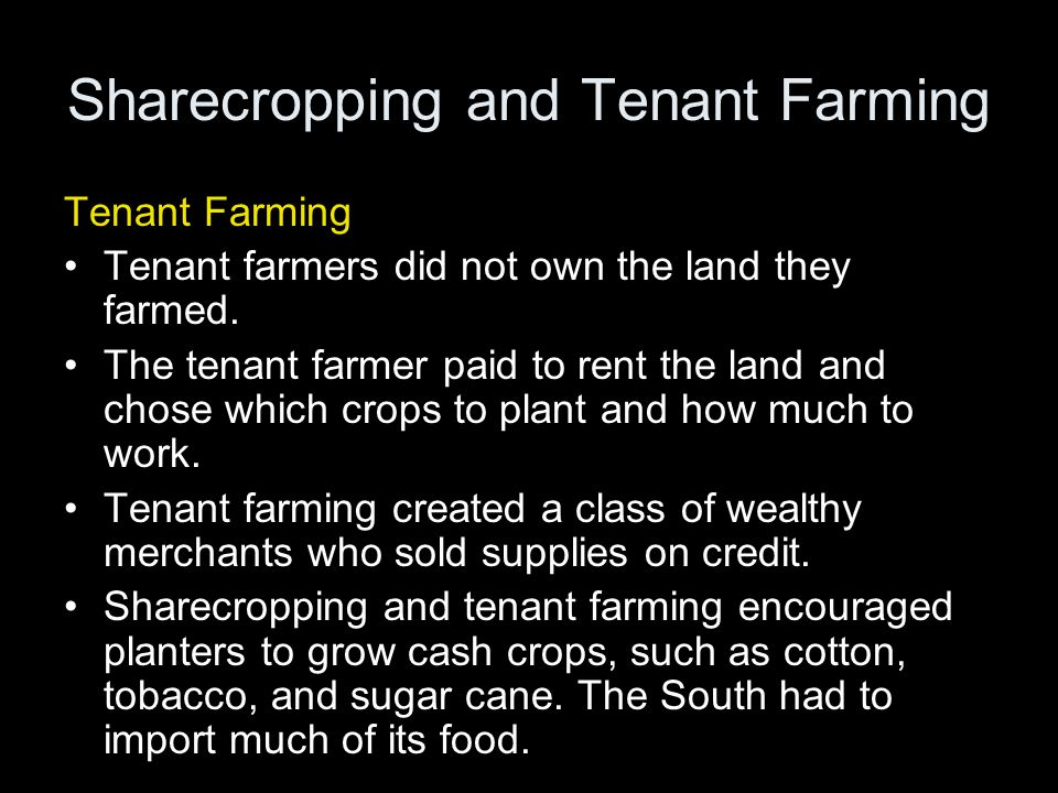Sharecropping and Tenant Farming