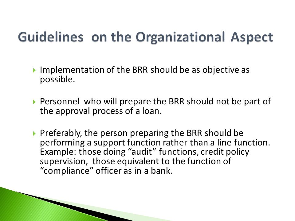 Guidelines on the Organizational Aspect