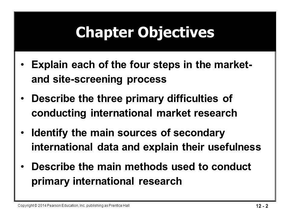 Chapter Objectives Explain each of the four steps in the market- and site-screening process.