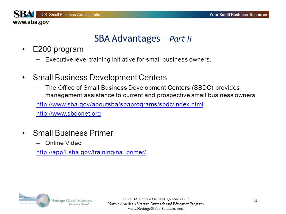 SBA Advantages – Part II