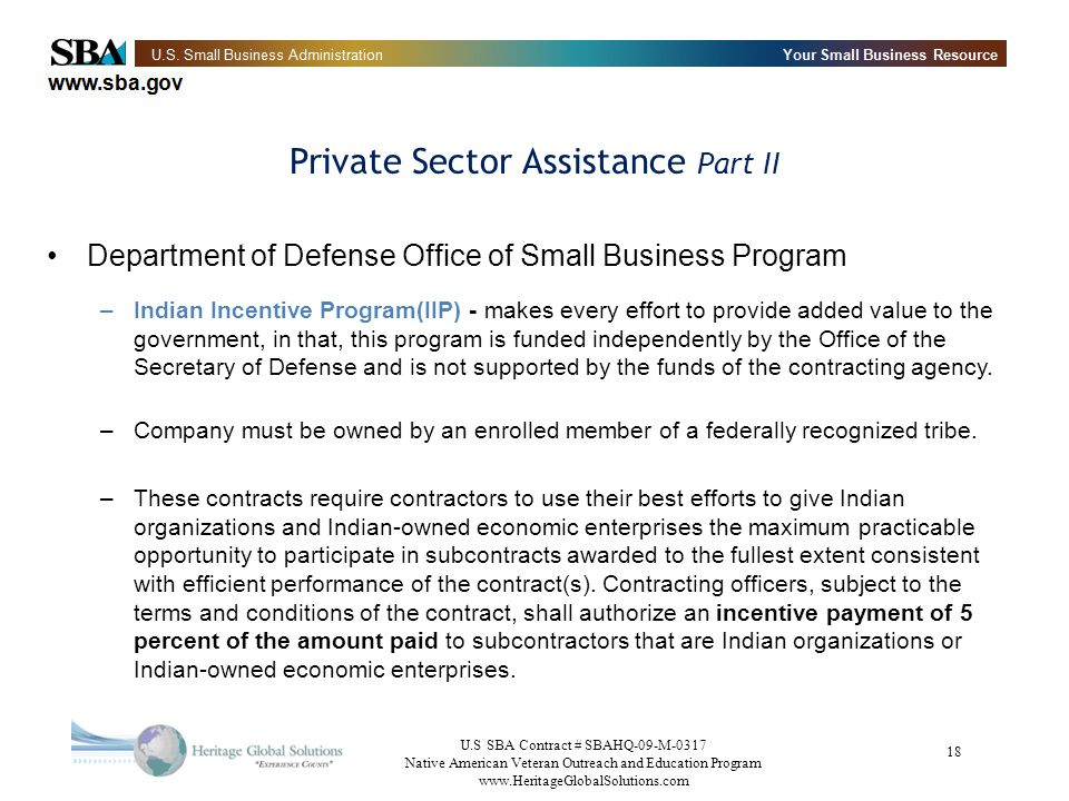 Private Sector Assistance Part II