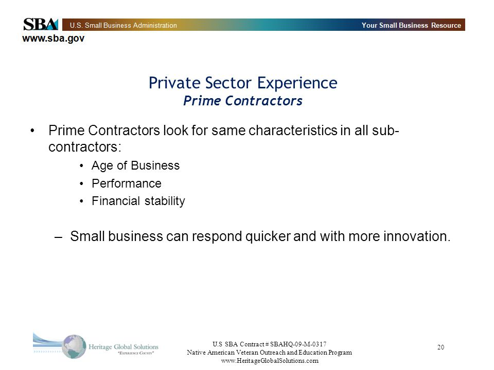 Private Sector Experience Prime Contractors