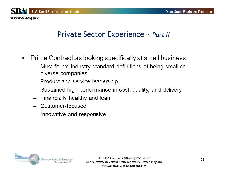 Private Sector Experience - Part II