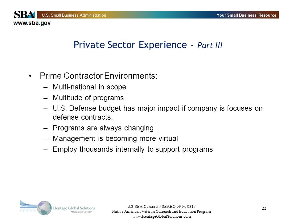 Private Sector Experience - Part III
