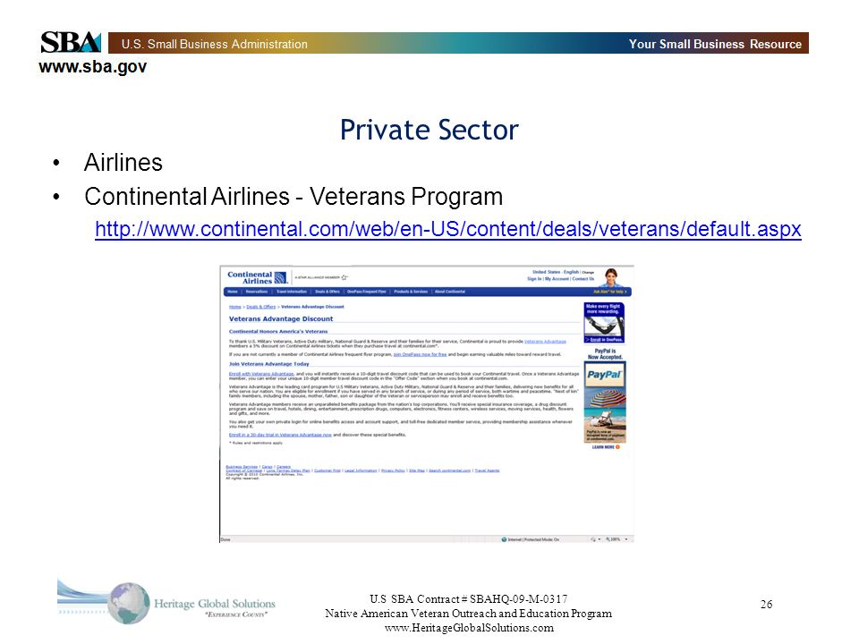 Private Sector Airlines Continental Airlines - Veterans Program