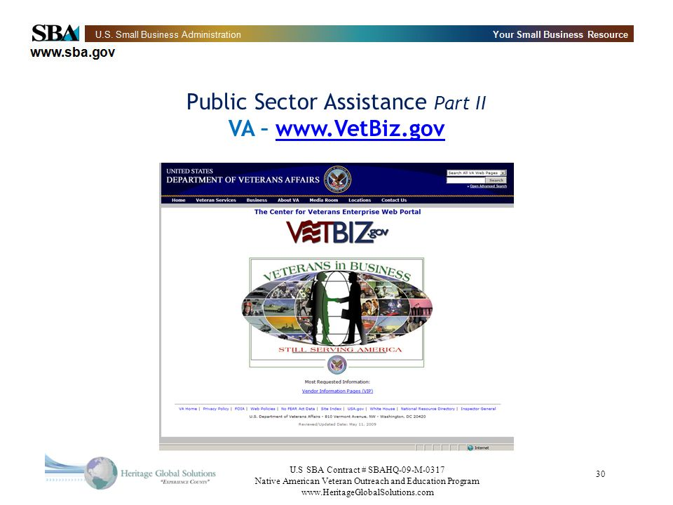 Public Sector Assistance Part II VA – www.VetBiz.gov