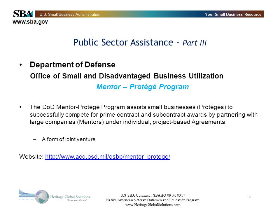 Public Sector Assistance - Part III