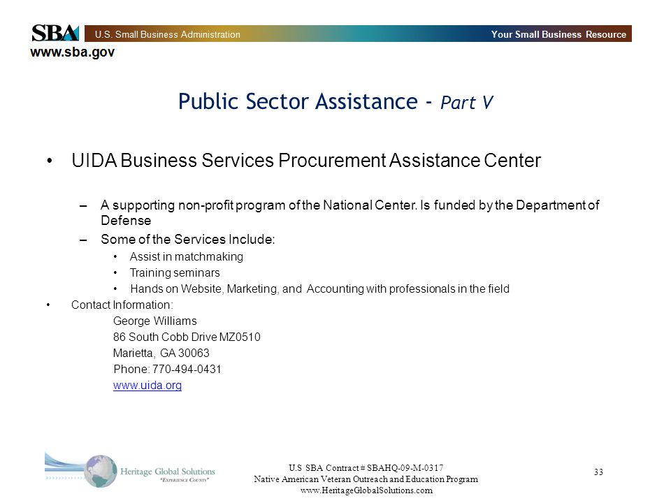 Public Sector Assistance - Part V