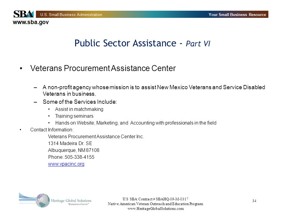 Public Sector Assistance - Part VI