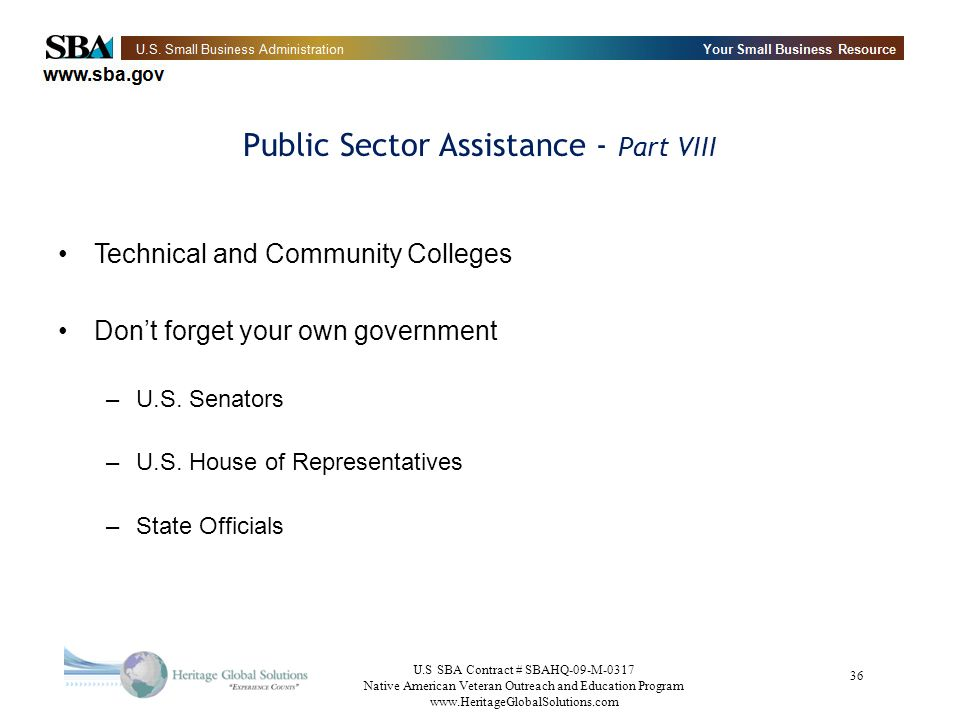 Public Sector Assistance - Part VIII