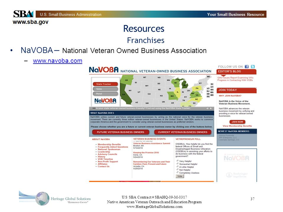 Resources Franchises NaVOBA – National Veteran Owned Business Association www.navoba.com