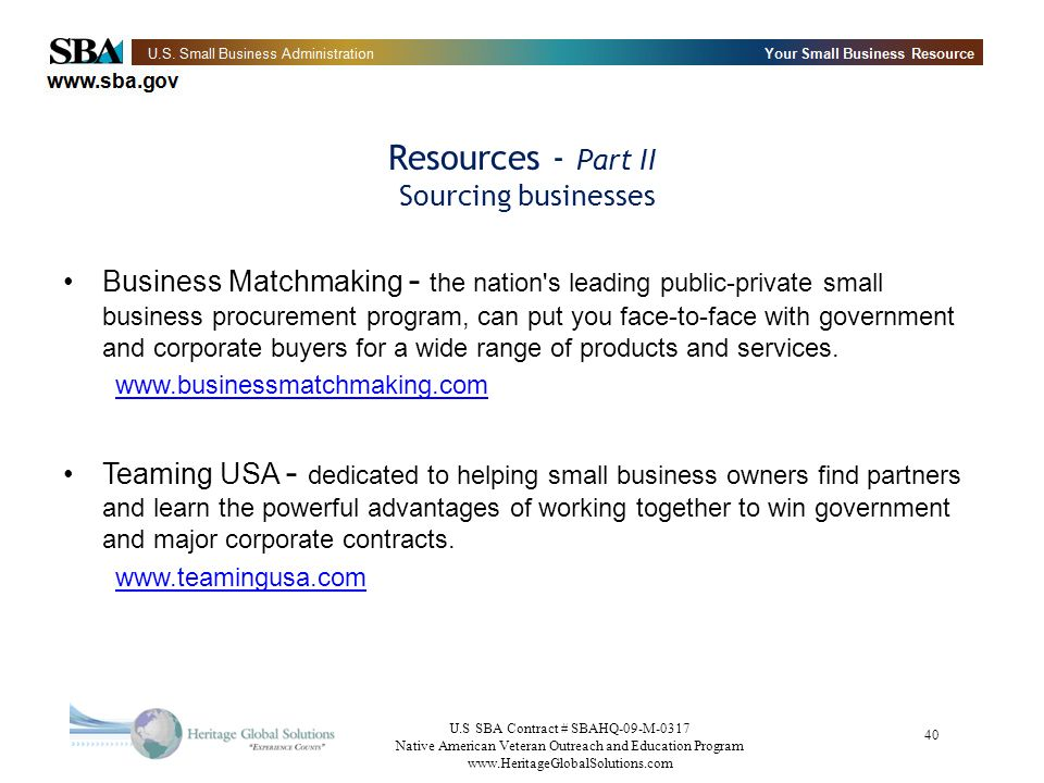Resources - Part II Sourcing businesses