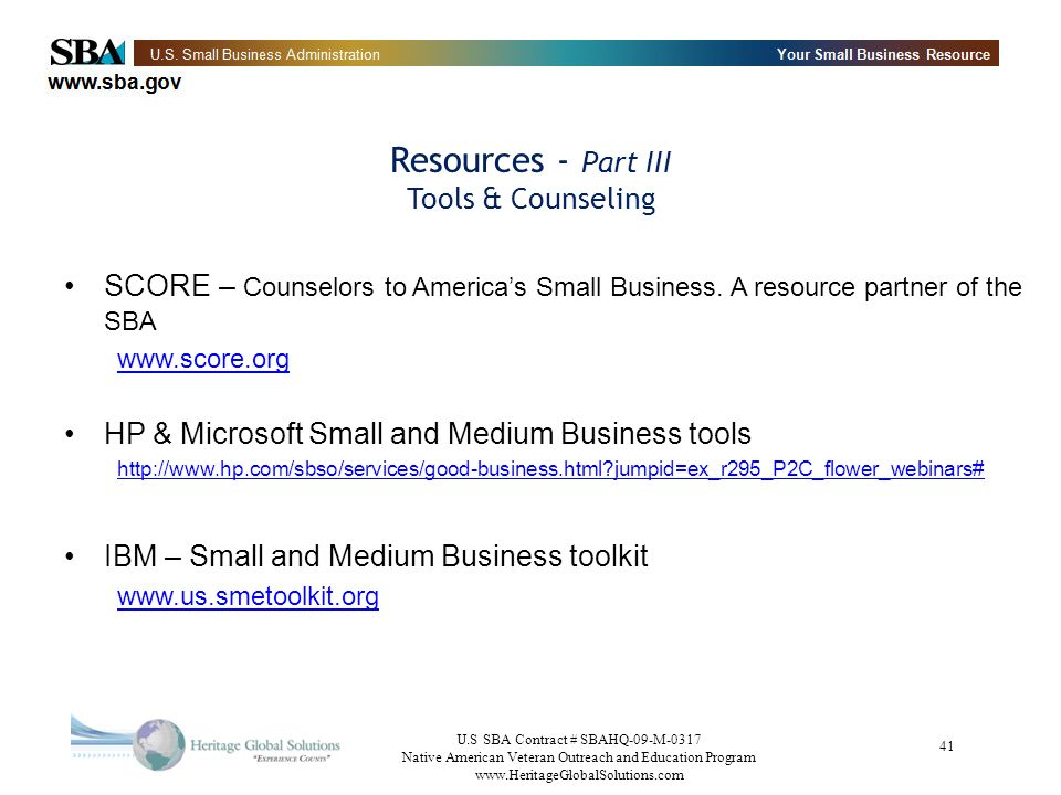 Resources - Part III Tools & Counseling