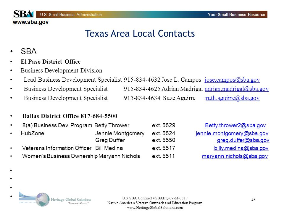 Texas Area Local Contacts