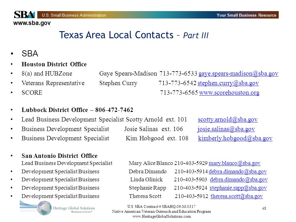 Texas Area Local Contacts – Part III