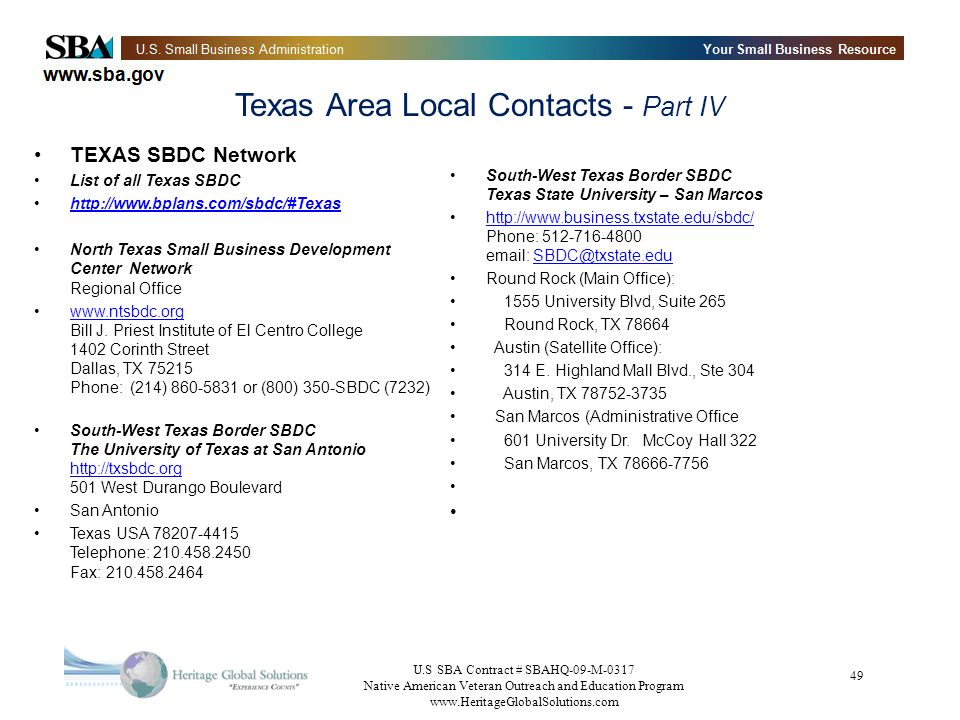 Texas Area Local Contacts - Part IV