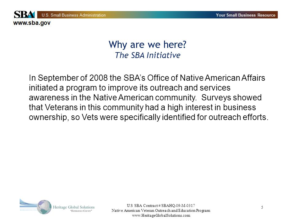 Why are we here The SBA Initiative