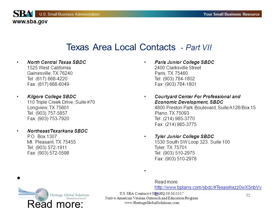 Texas Area Local Contacts - Part VII