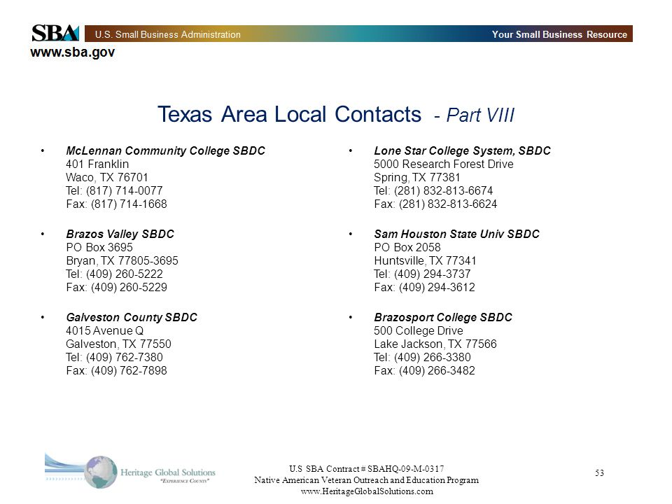Texas Area Local Contacts - Part VIII