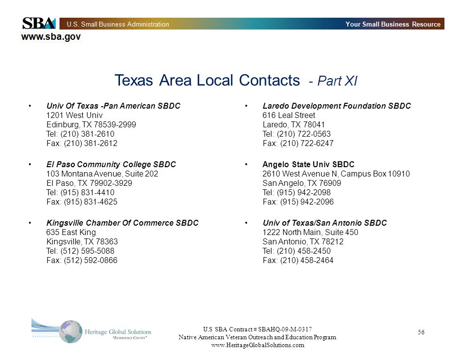 Texas Area Local Contacts - Part XI