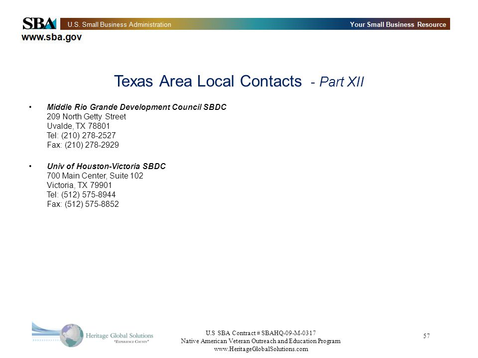 Texas Area Local Contacts - Part XII