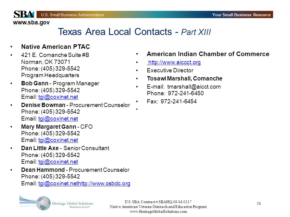 Texas Area Local Contacts - Part XIII